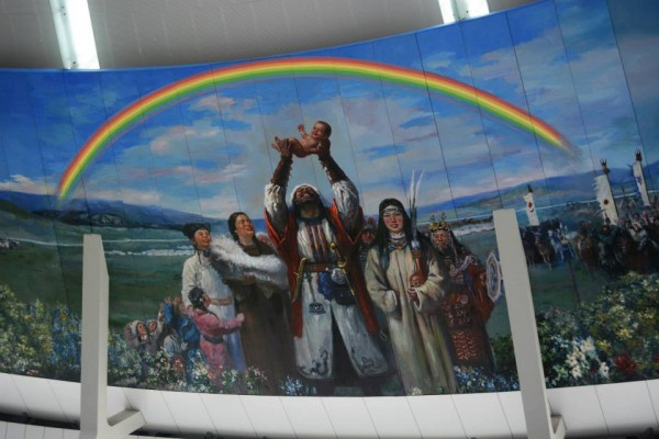 Genghis Khan (Lion King?) murals at the Ordos Airport.